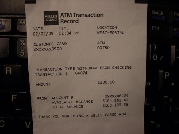 Baller ATM Reciept